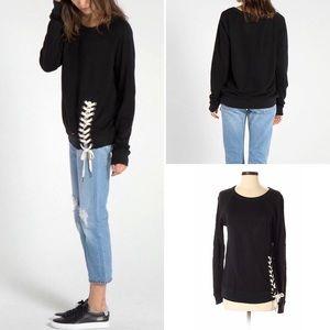 n:Philanthropy Mika Lace Up Sweatshirt Black XS